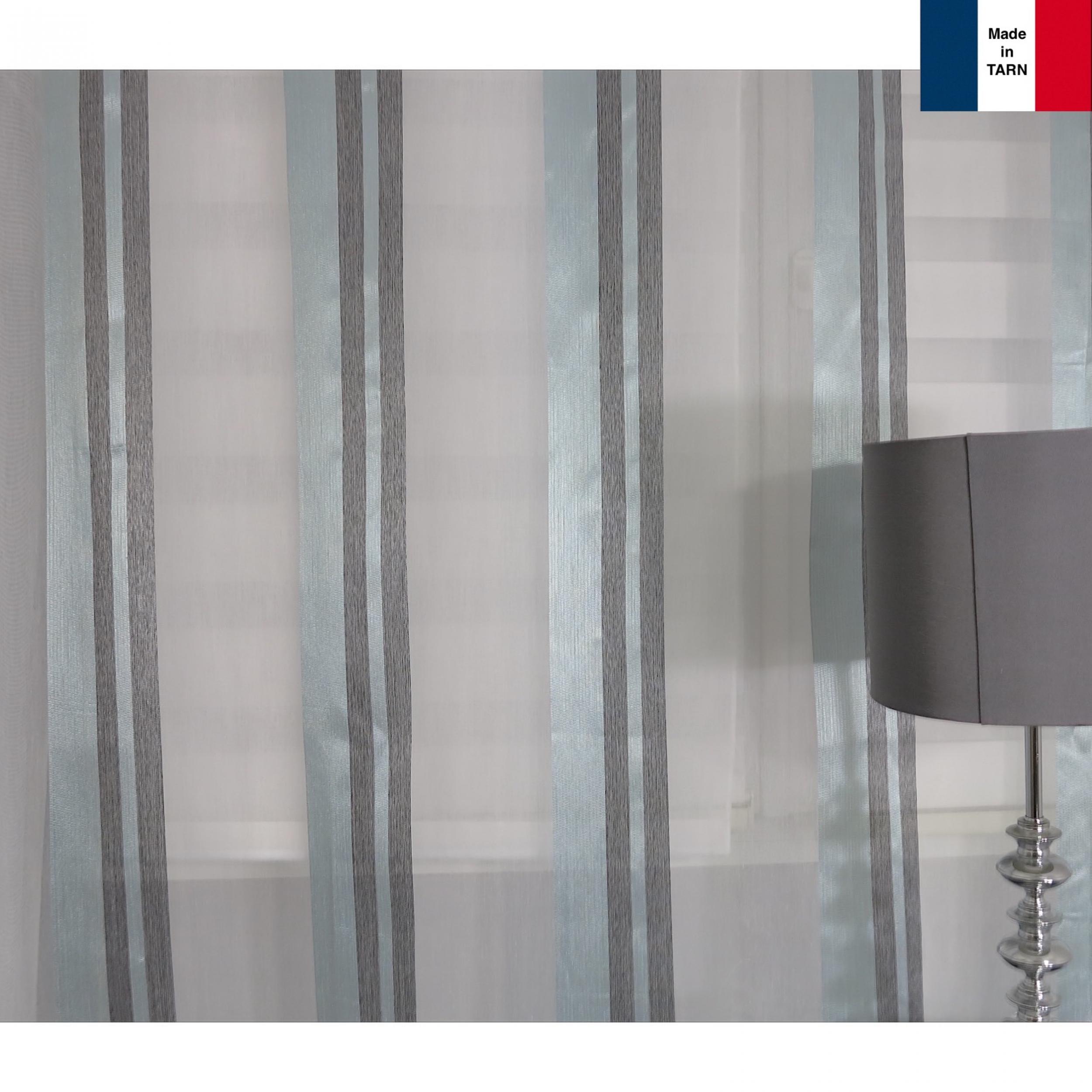voilage sur mesure turquoise et gris jusqu 39 290 cm de haut l 39 atelier de la toile. Black Bedroom Furniture Sets. Home Design Ideas