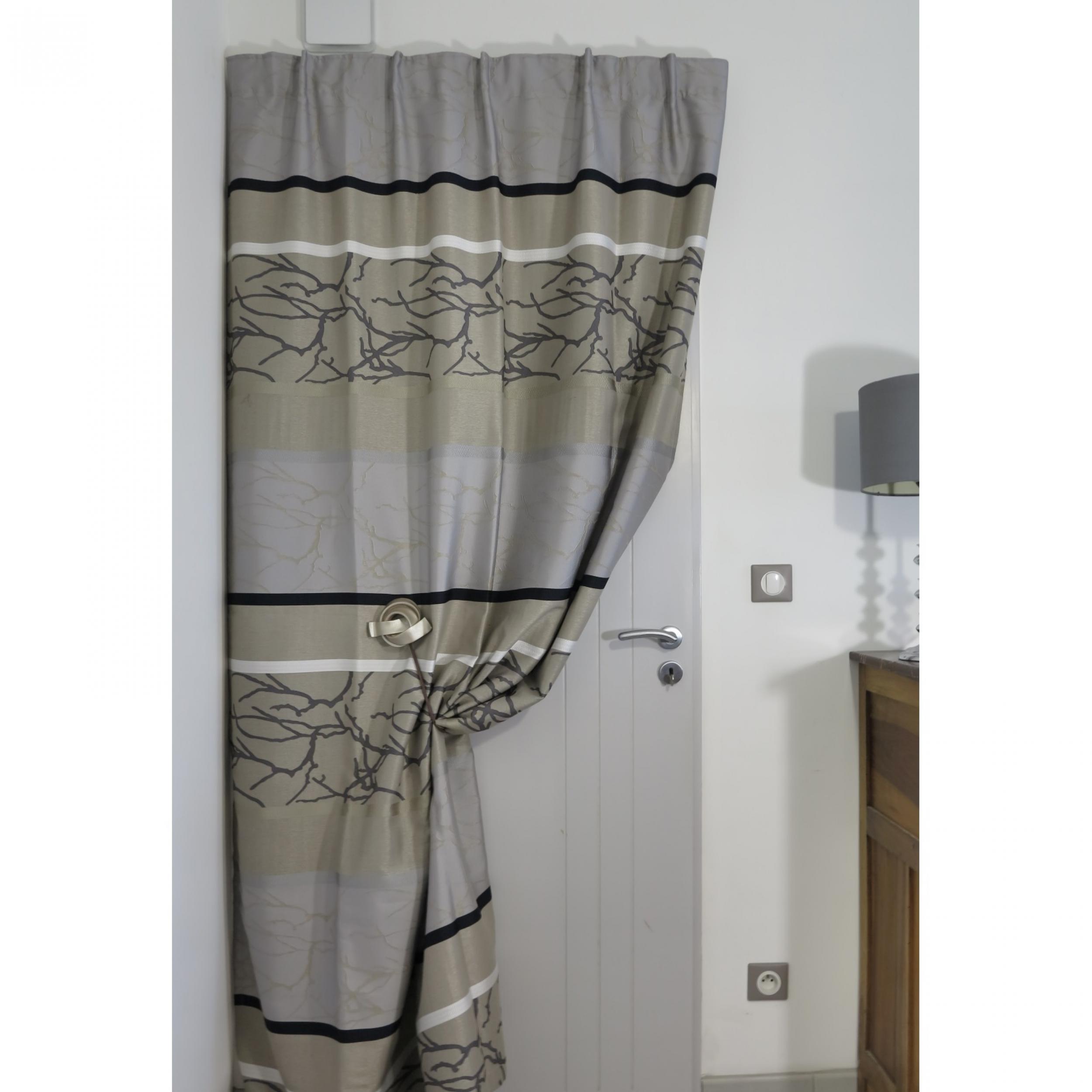 Rideaux ruflette isolant thermique megeve couleur lin pour tringle porti re 138 x 234 cm l - Ruflette vague pour rideaux ...