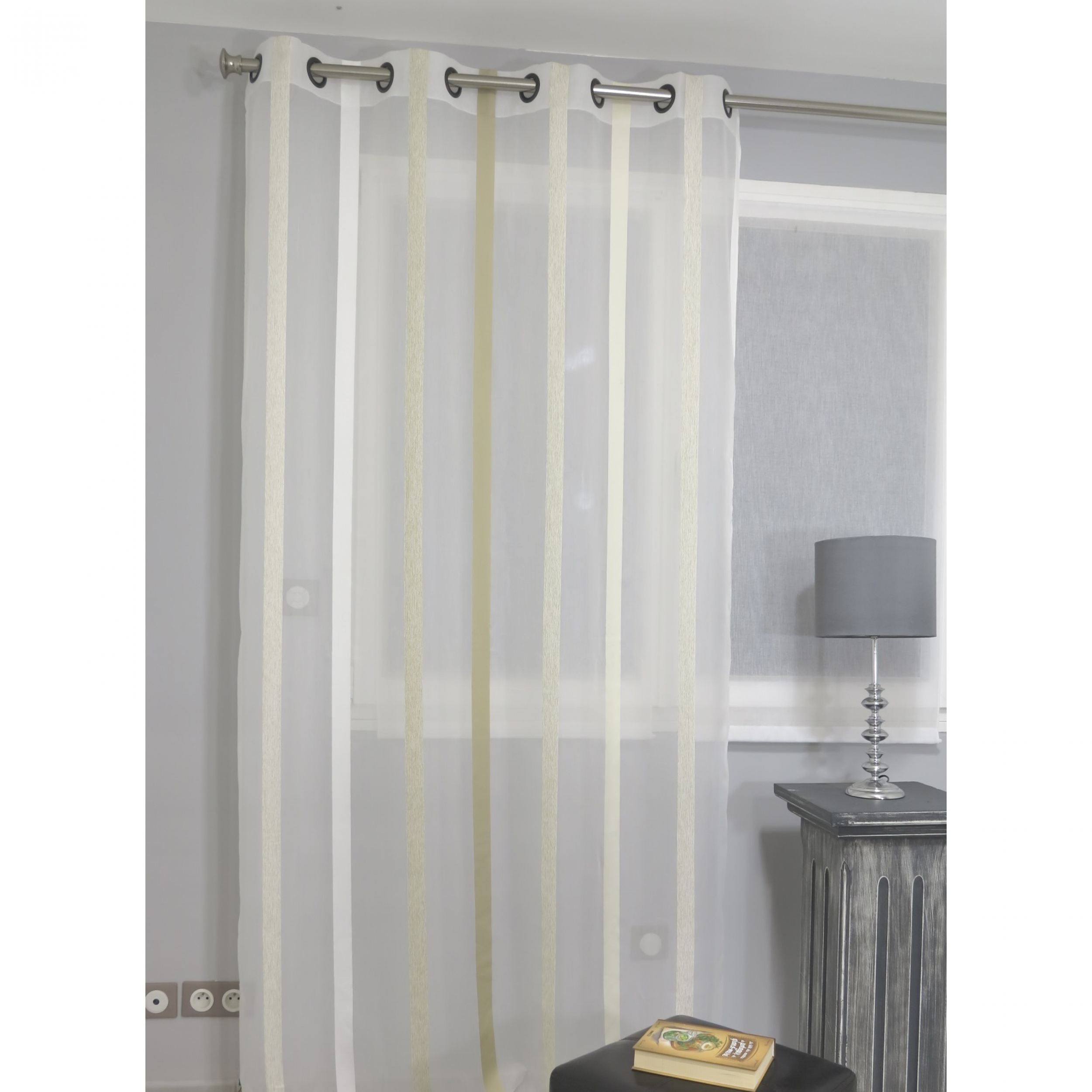 voilage pr t poser vision beige 140 x 260 cm l 39 atelier de la toile. Black Bedroom Furniture Sets. Home Design Ideas