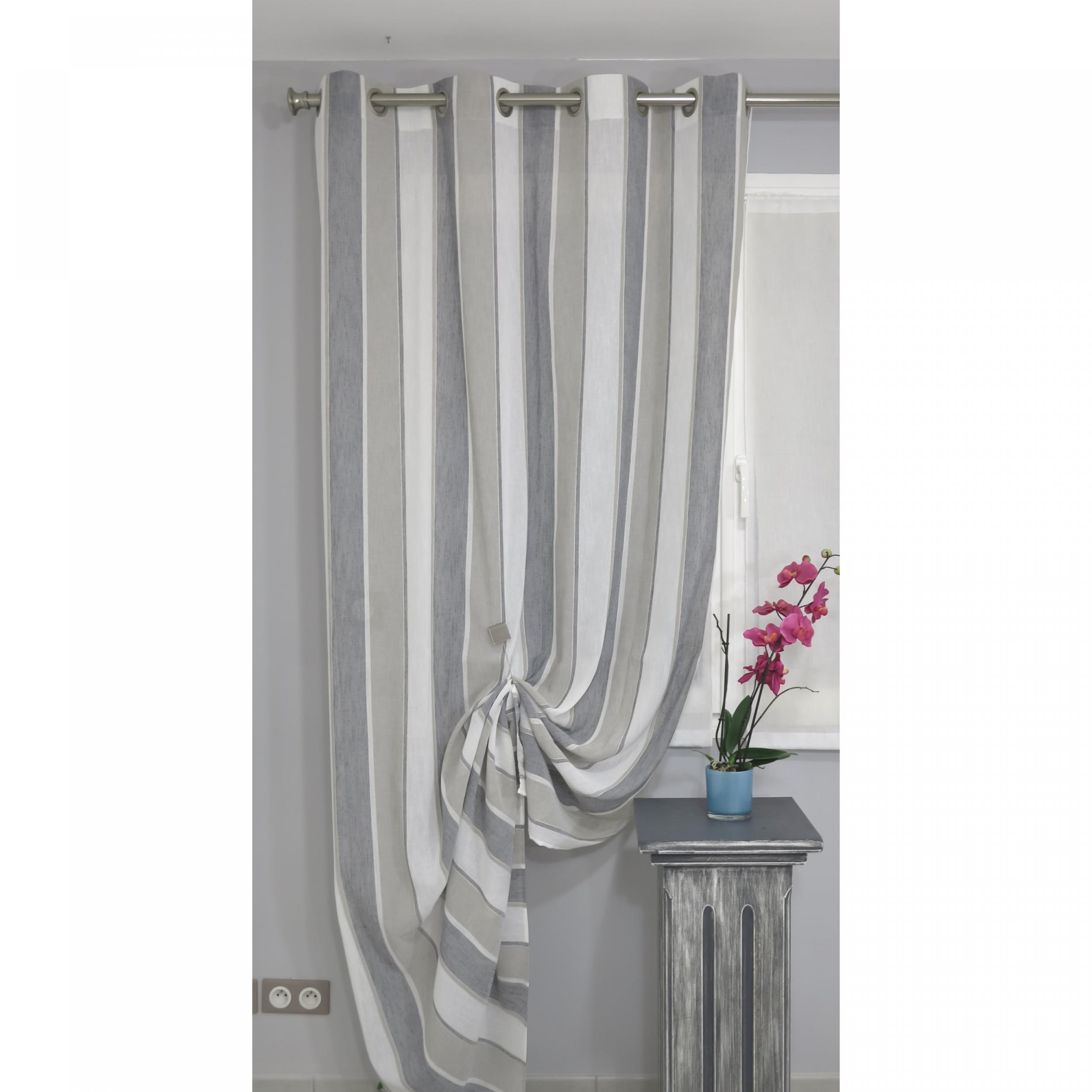 voilage pr t poser pemba gris 140 x 260 cm l 39 atelier de la toile. Black Bedroom Furniture Sets. Home Design Ideas