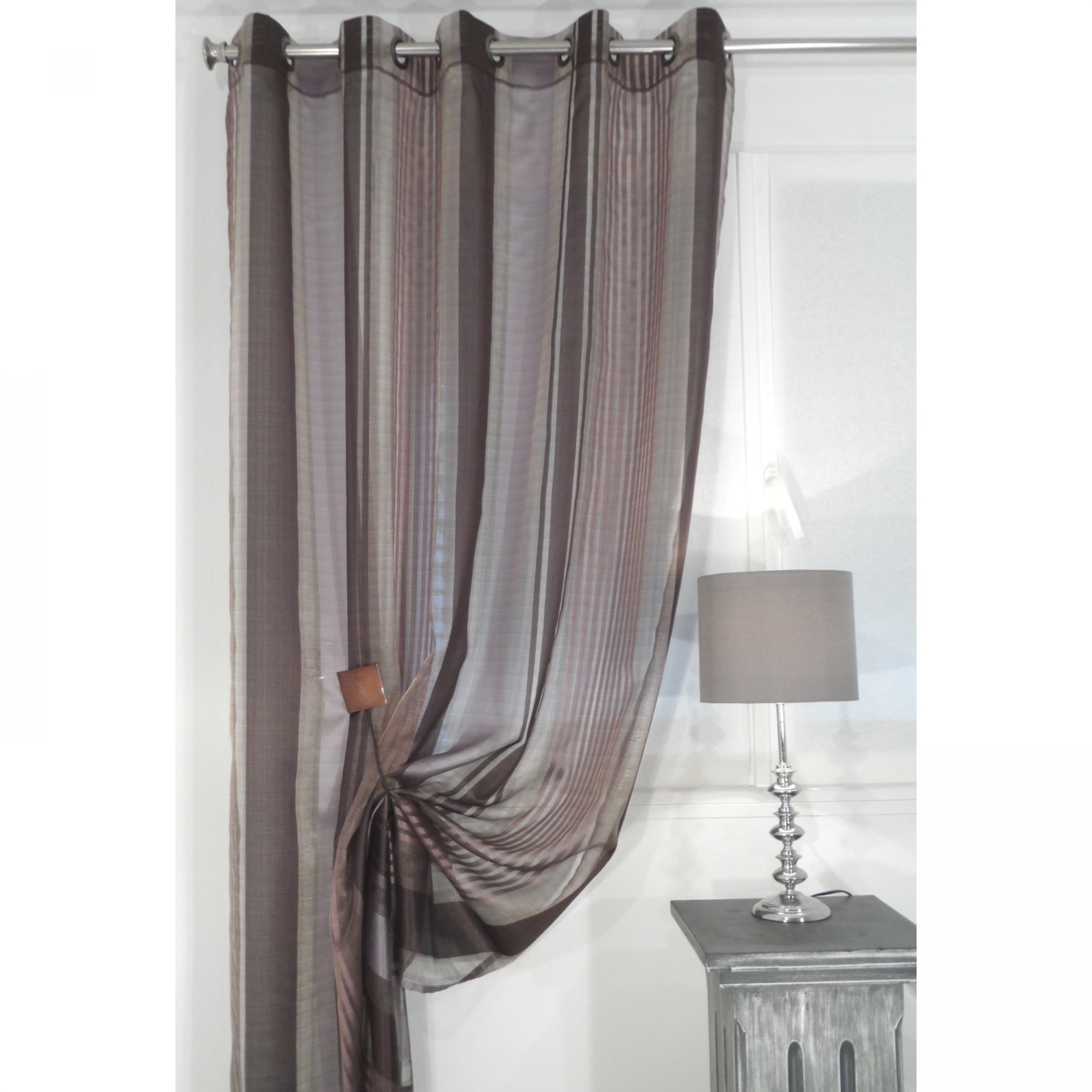 voilage pr t poser enzo aubergine 135 x 270 cm l 39 atelier de la toile. Black Bedroom Furniture Sets. Home Design Ideas