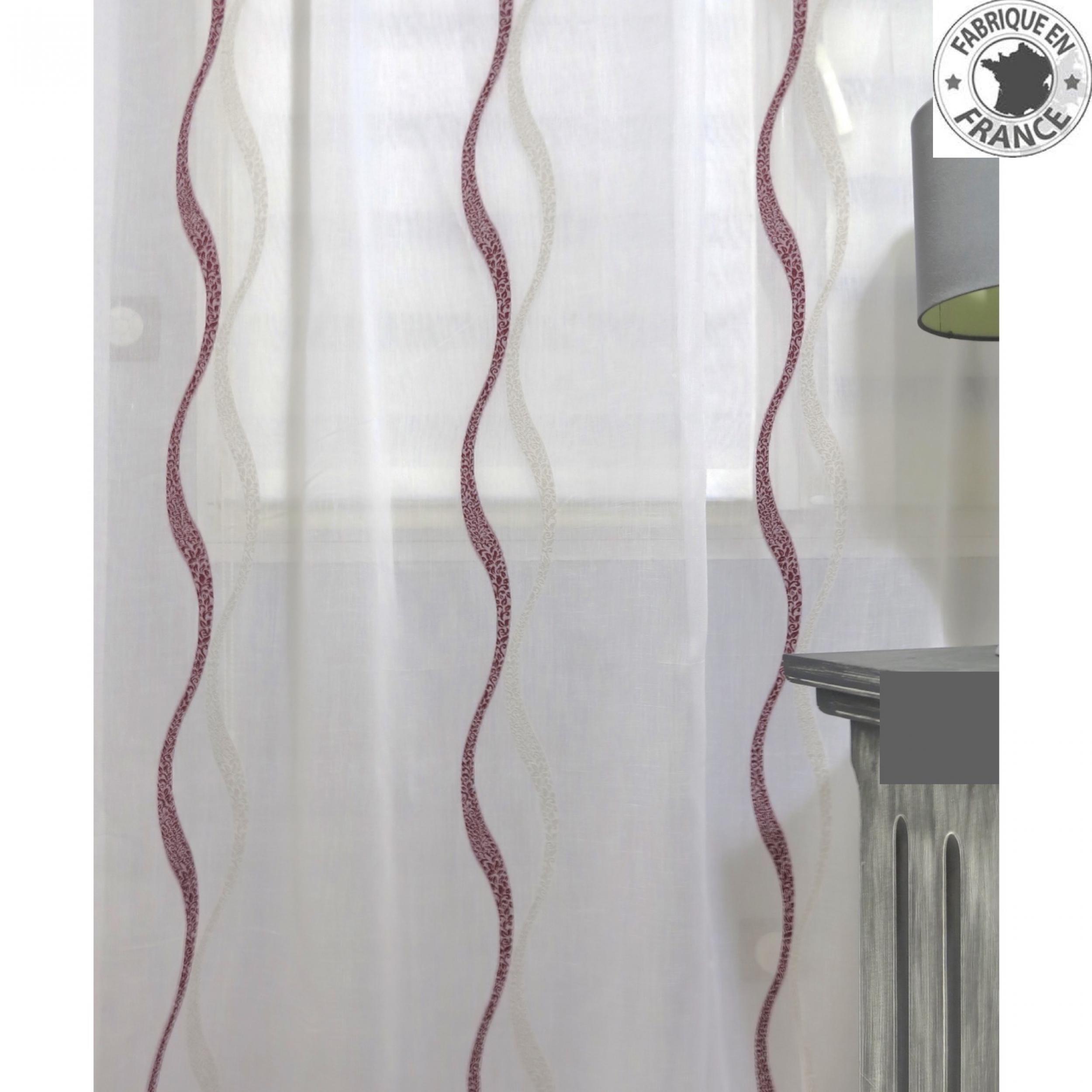voile au m tre avec motifs vagues bordeaux lin en grande. Black Bedroom Furniture Sets. Home Design Ideas
