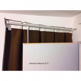rideaux ruflette isolant thermique apache couleur gris pour tringle porti re disponible en 2. Black Bedroom Furniture Sets. Home Design Ideas