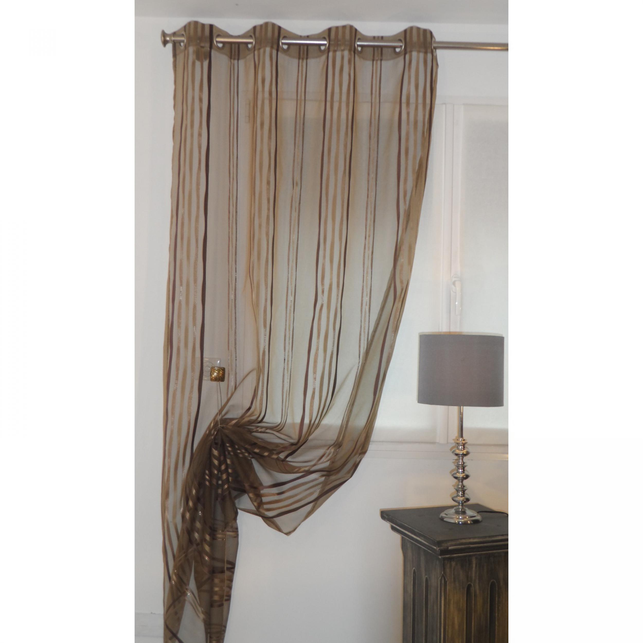 voilage pr t poser nirvana taupe 140 x 270 cm l 39 atelier de la toile. Black Bedroom Furniture Sets. Home Design Ideas