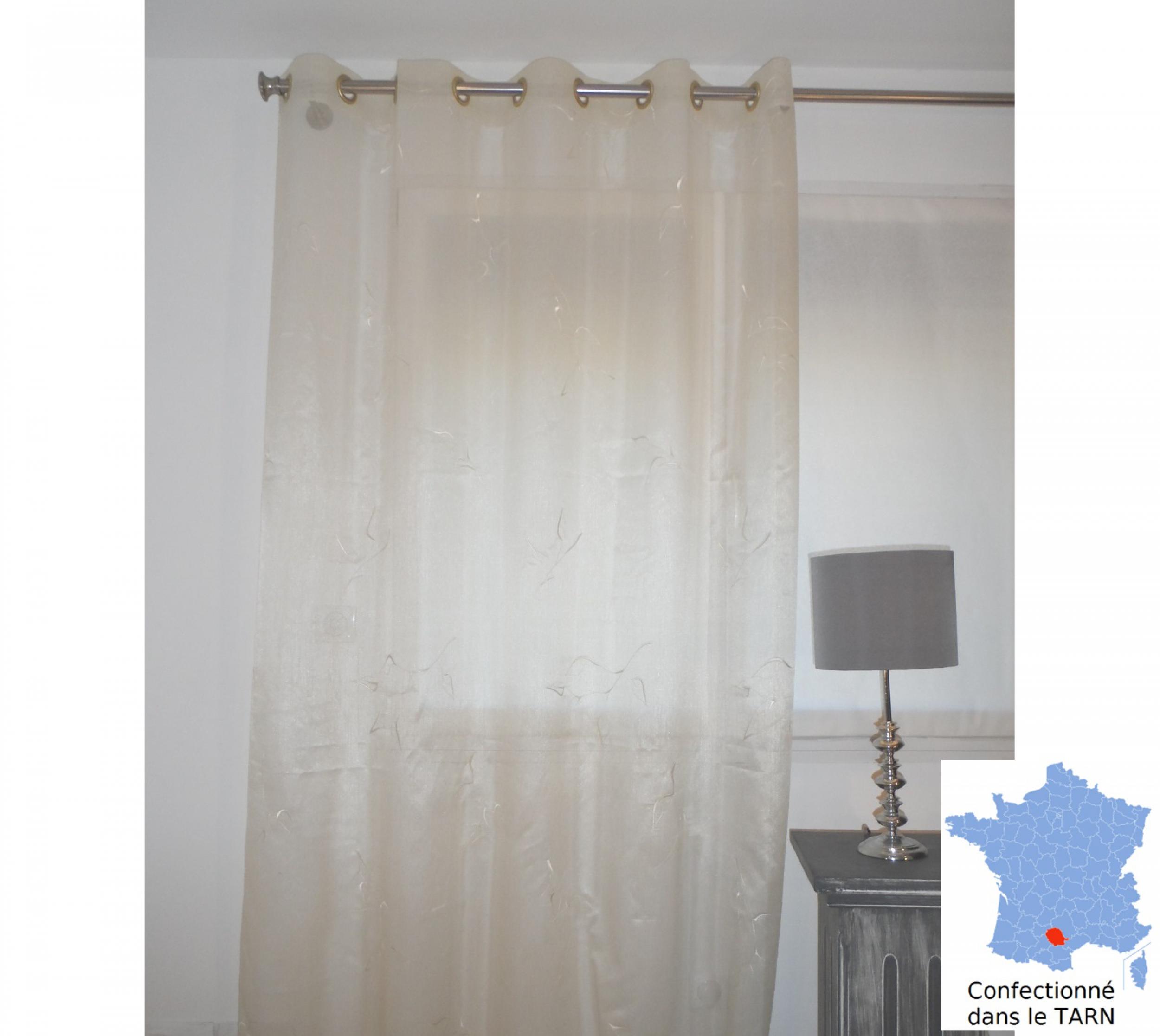 Rideaux voilage marssac beige 175 x 242 cm l 39 atelier de la toile for Rideaux voilages sans oeillets