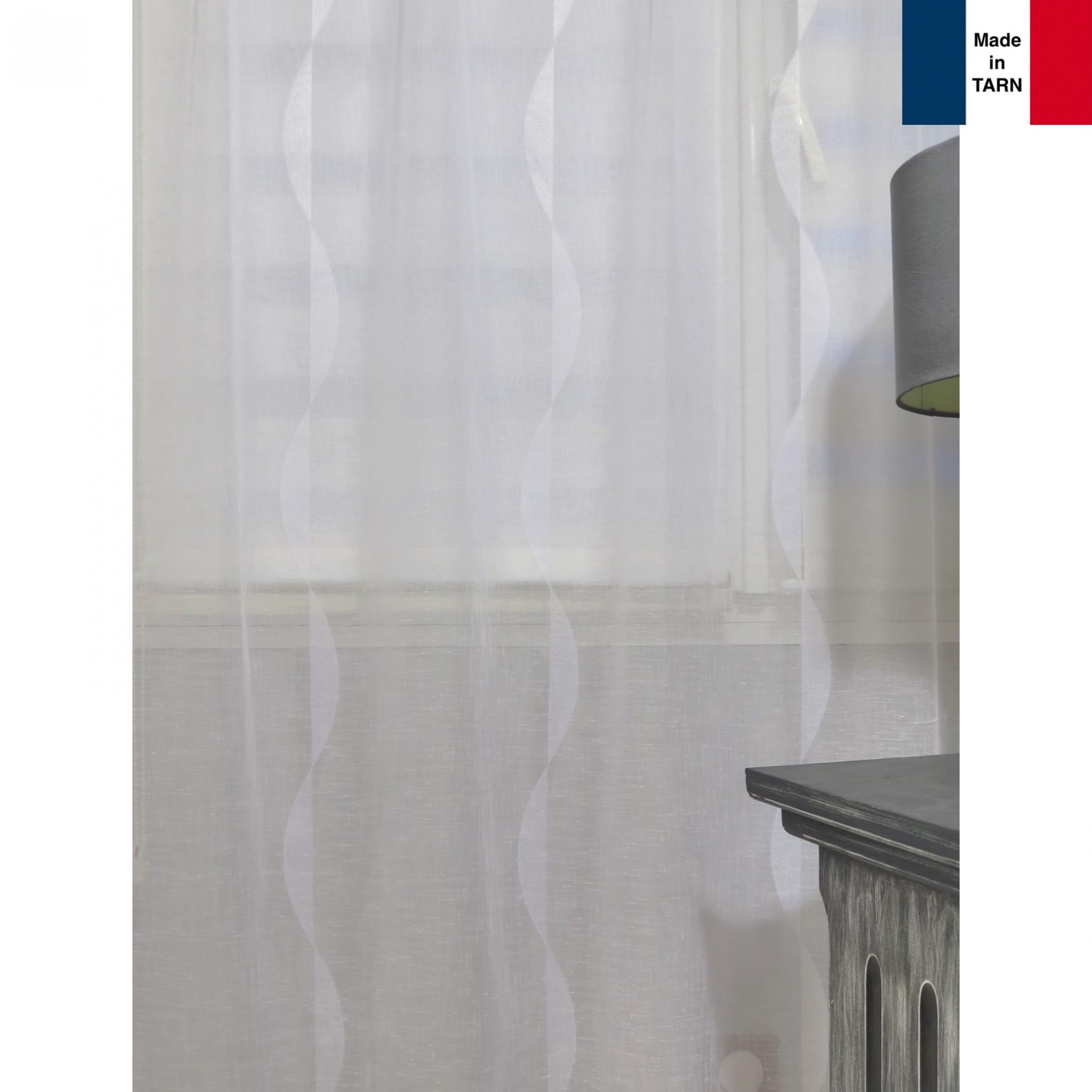 voilage sur mesure aspect lin blanc avec motifs vagues jusqu 39 290 cm de haut l 39 atelier de. Black Bedroom Furniture Sets. Home Design Ideas