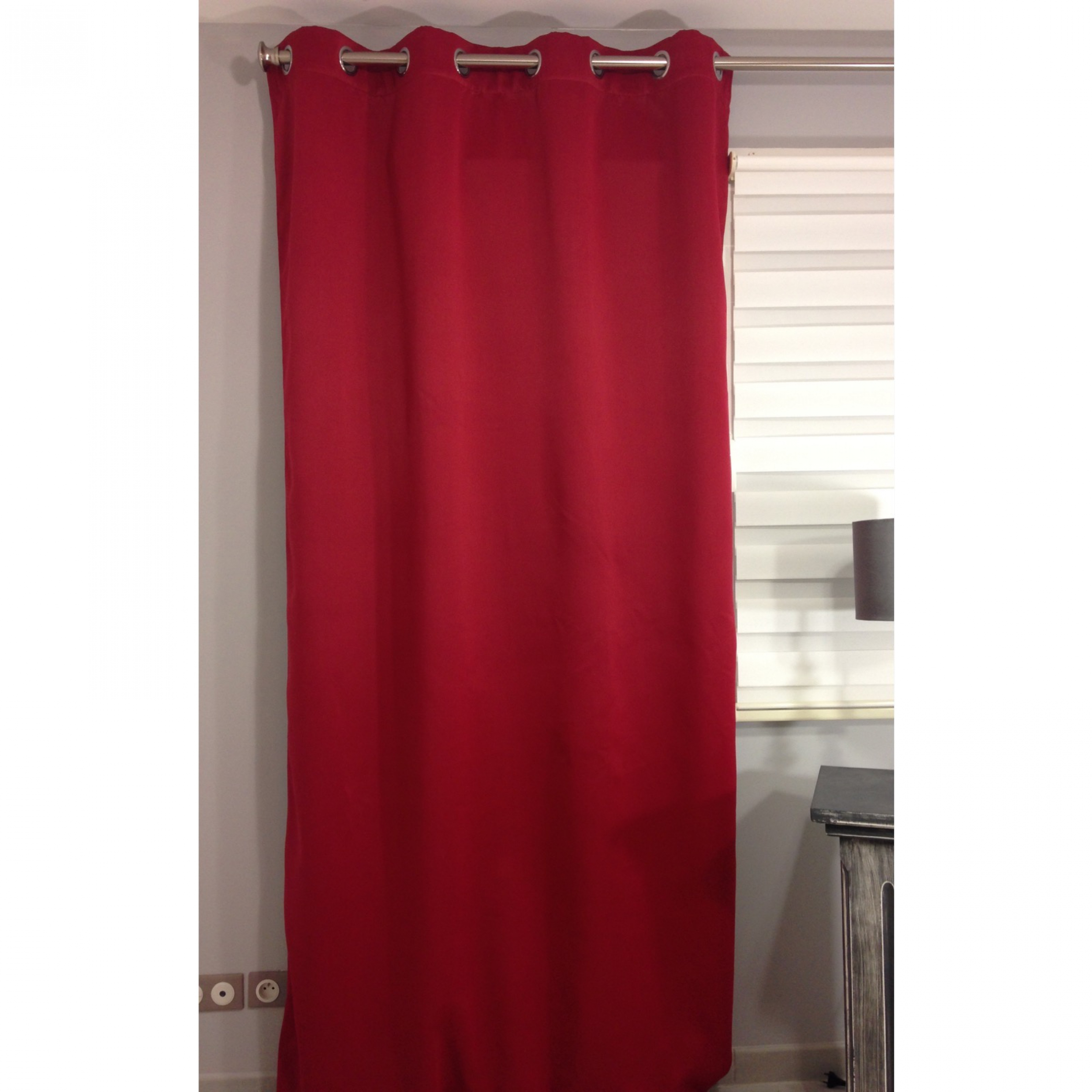 Rideau isolant thermique et phonique occultant uni breeze rouge 140 x 260 cm l 39 atelier de la - Rideaux isolant thermique ...