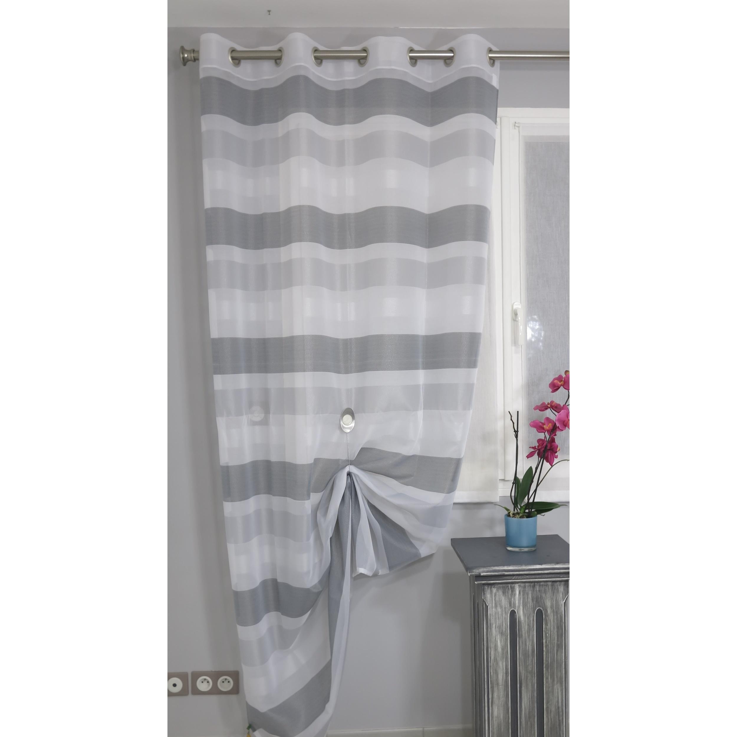 voilage pr t poser cagnac gris 140 x 243 cm l 39 atelier de la toile. Black Bedroom Furniture Sets. Home Design Ideas