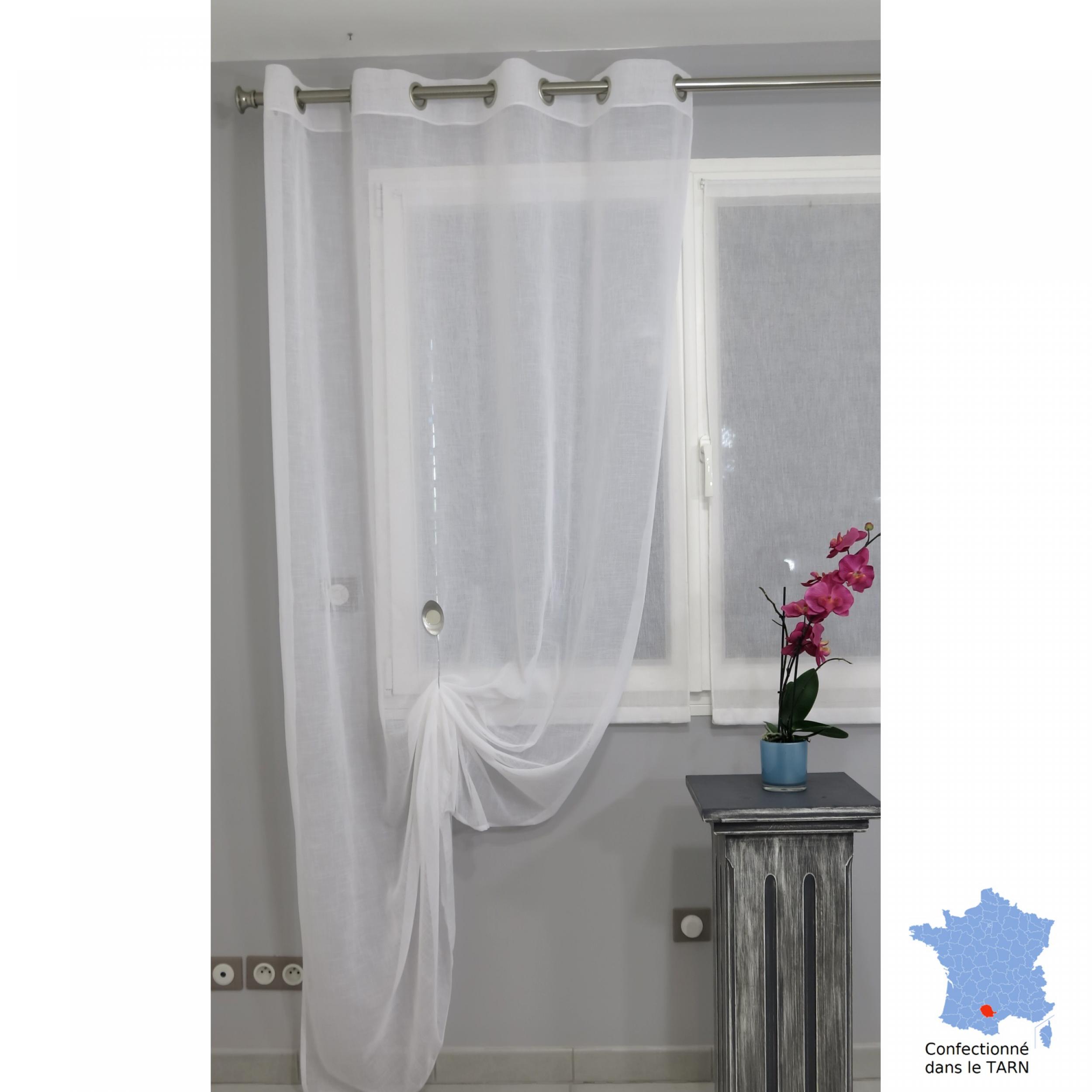 voilage pr t poser puygouzon blanc 150 x 245 cm l 39 atelier de la toile. Black Bedroom Furniture Sets. Home Design Ideas