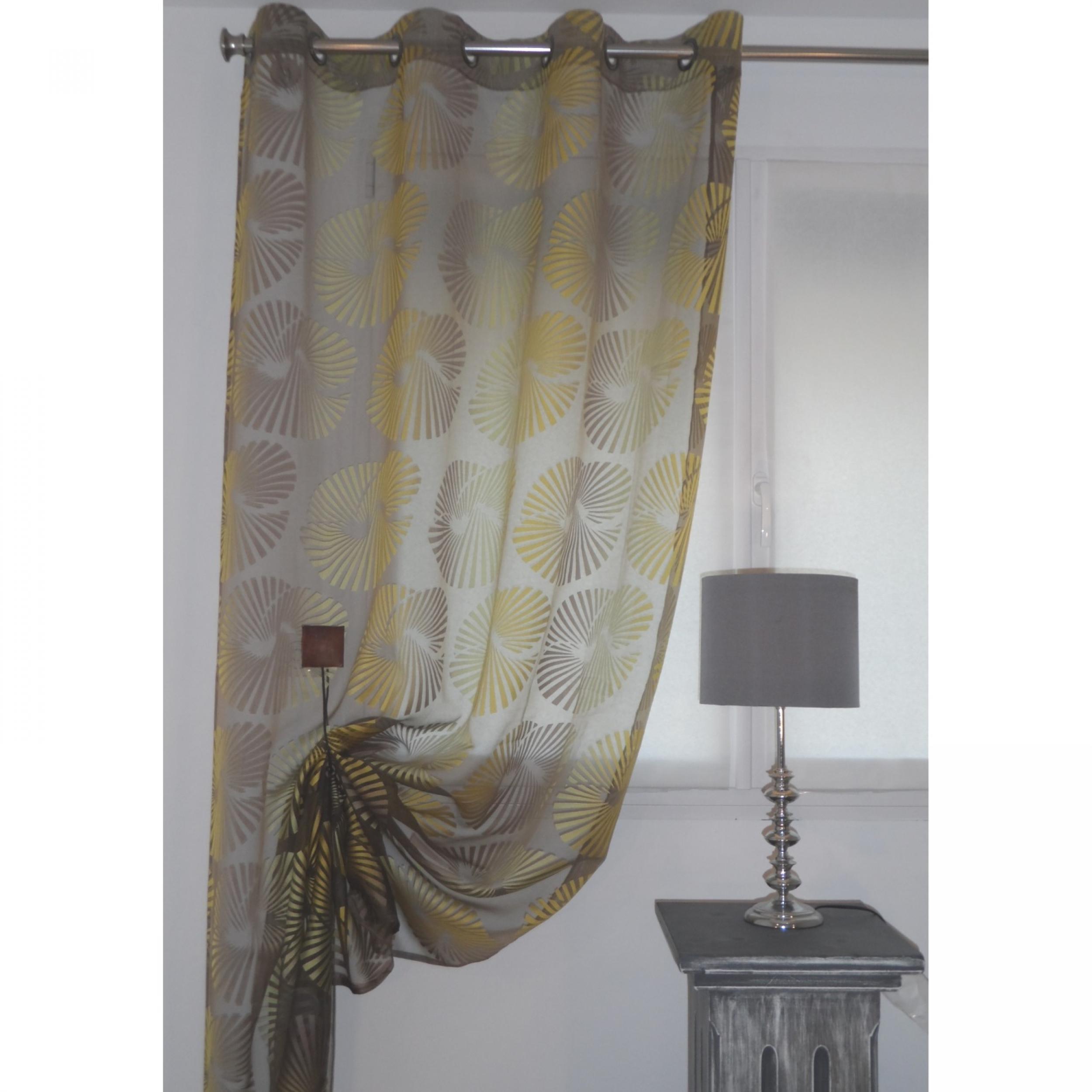 rideaux voilage ado lucciana chocolat jaune 155 x 270 cm. Black Bedroom Furniture Sets. Home Design Ideas