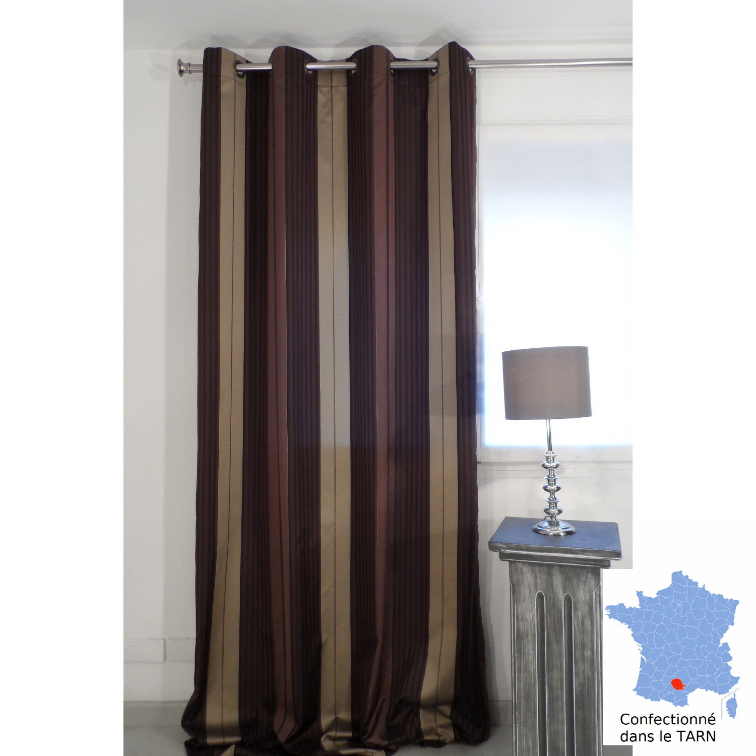 rideaux tenture nice chocolat 150 x 279 cm l 39 atelier de la toile. Black Bedroom Furniture Sets. Home Design Ideas