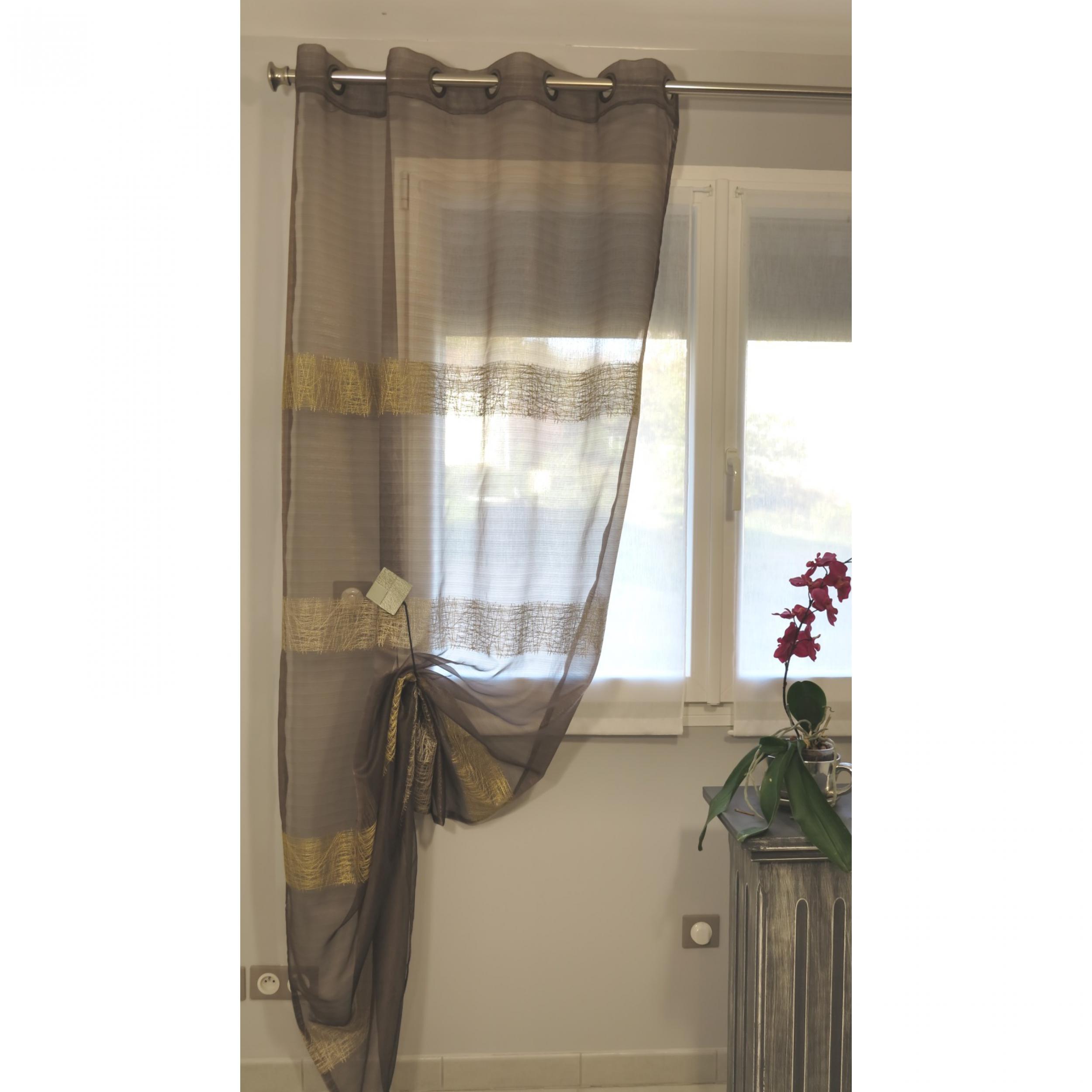 voilage pr t poser chloe chocolat 135 x 270 cm l 39 atelier de la toile. Black Bedroom Furniture Sets. Home Design Ideas