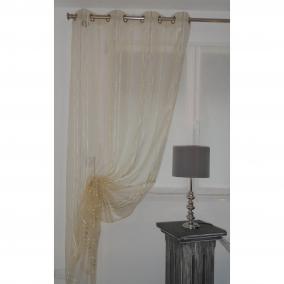 voilage pr t poser nirvana beige 140 x 270 cm l 39 atelier de la toile. Black Bedroom Furniture Sets. Home Design Ideas