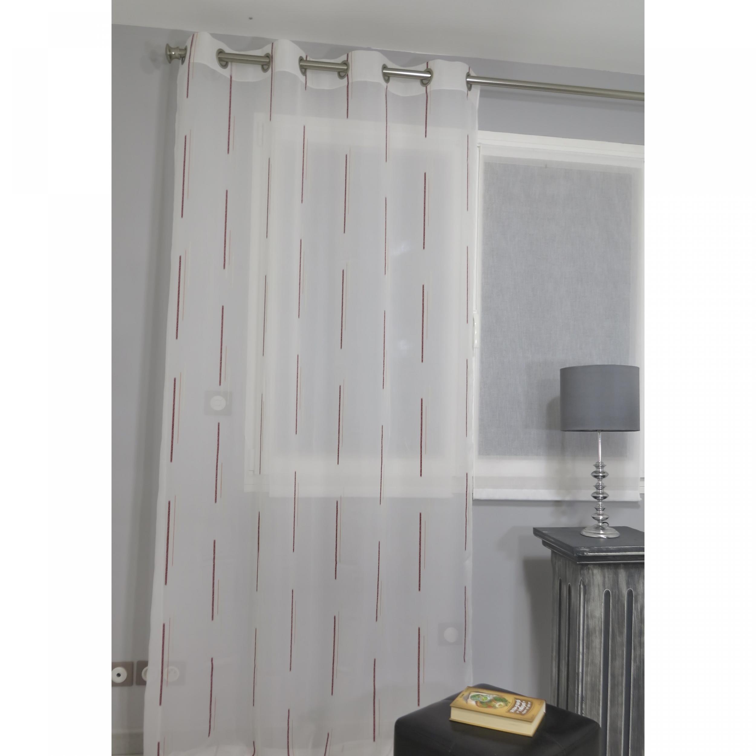 voilage pr t poser hacienda bordeaux 140 x 260 cm l 39 atelier de la toile. Black Bedroom Furniture Sets. Home Design Ideas