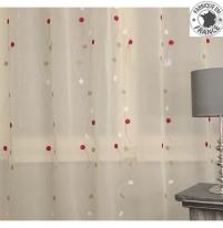 voilage sur mesure blanc cass avec broderie beige rouge jusqu 39 290 cm de haut l 39 atelier de. Black Bedroom Furniture Sets. Home Design Ideas