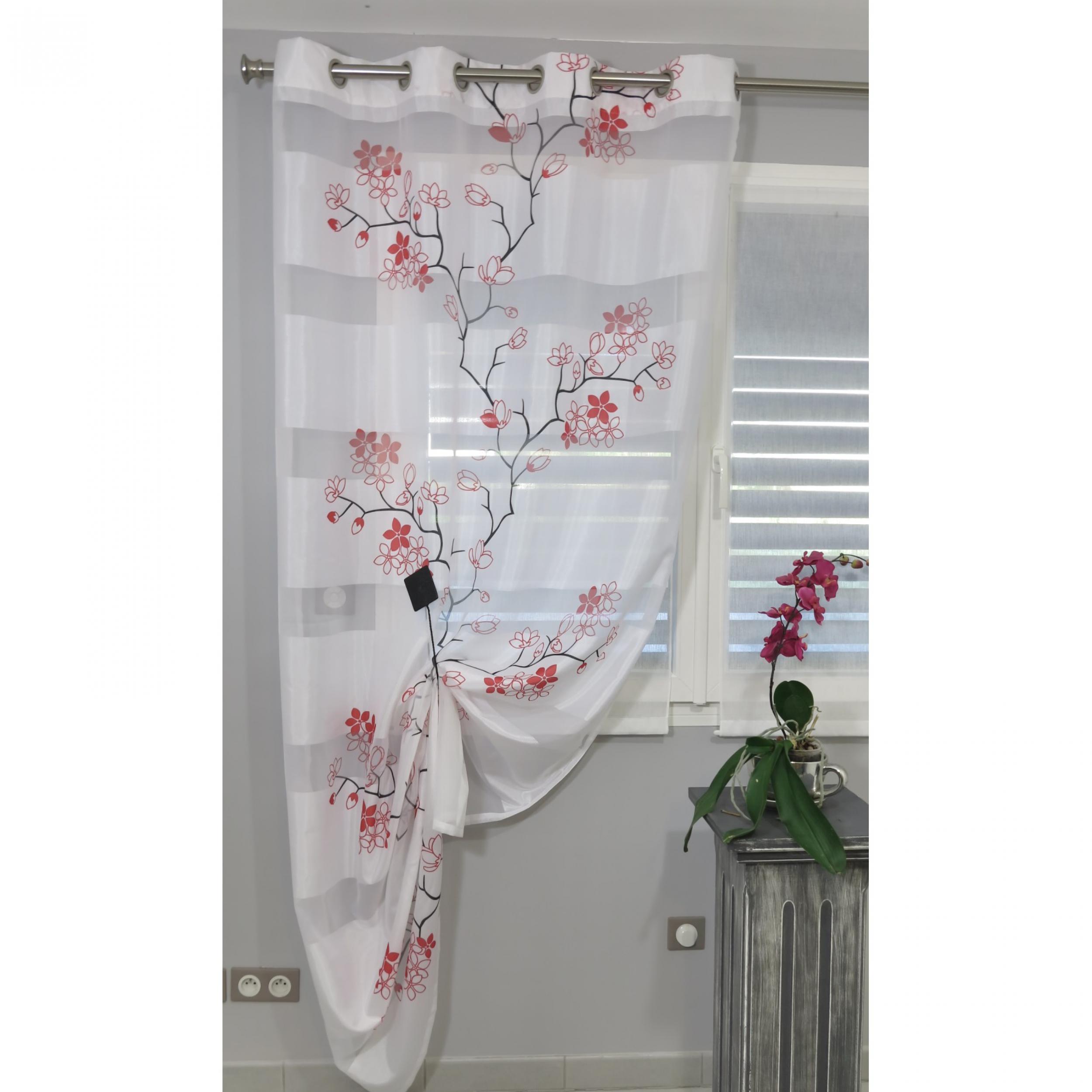 voilage pr t poser eden rouge 140 x 245 cm l 39 atelier de la toile. Black Bedroom Furniture Sets. Home Design Ideas