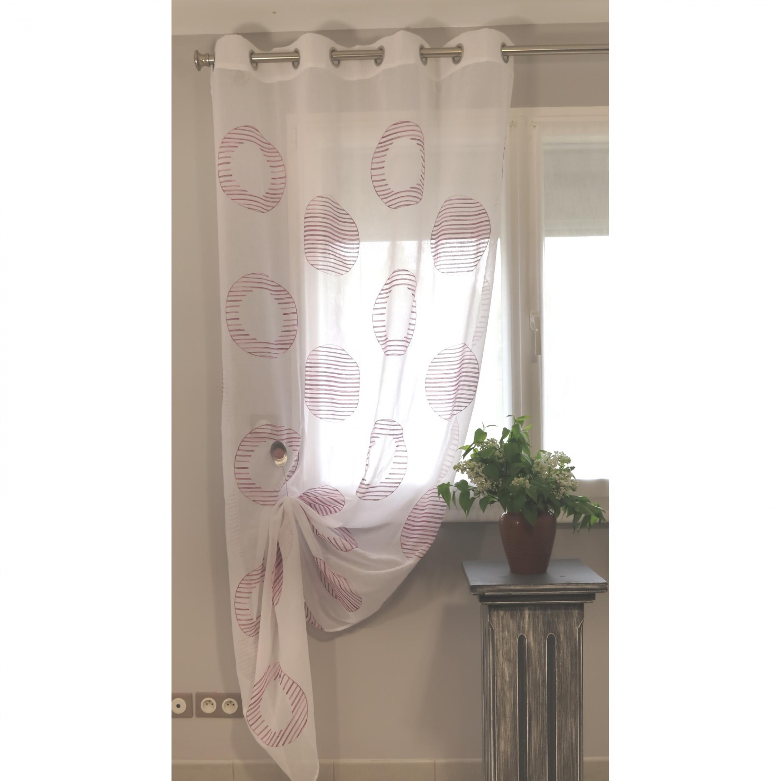 voilage pr t poser gap bois de rose 140 x 240 cm l 39 atelier de la toile. Black Bedroom Furniture Sets. Home Design Ideas