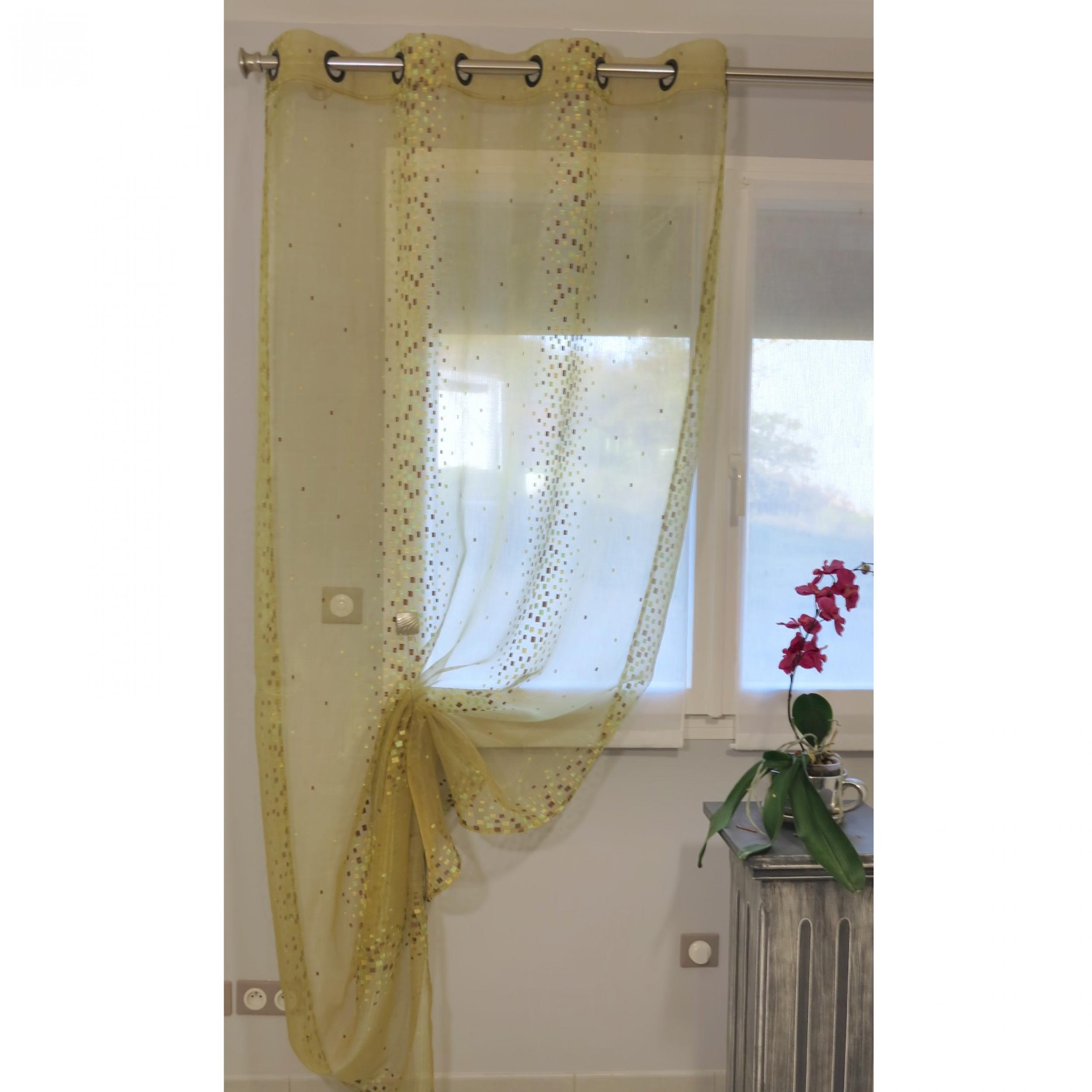 voilage pr t poser annabelle pistache 135 x 270 cm l 39 atelier de la toile. Black Bedroom Furniture Sets. Home Design Ideas