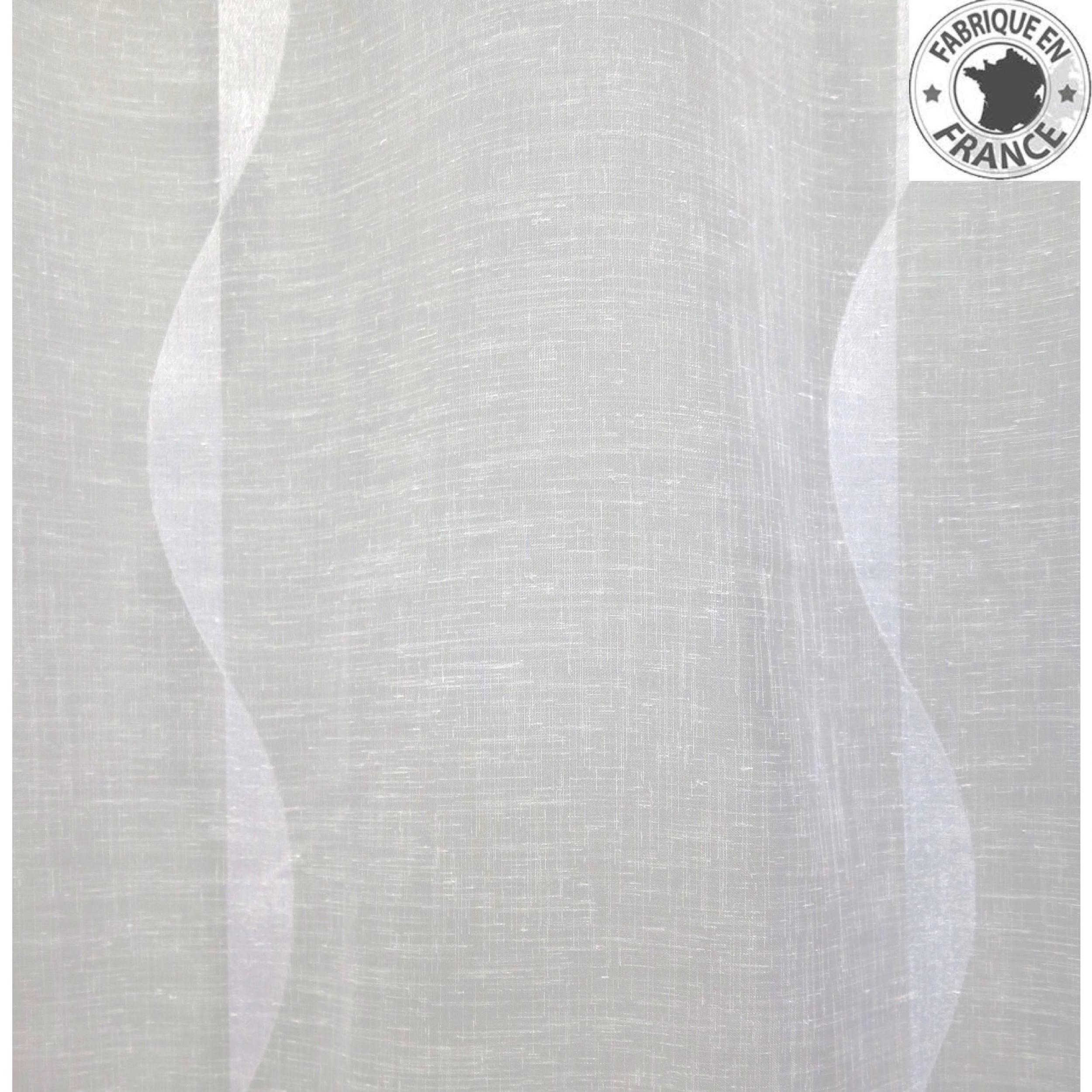 Voile au m tre blanc avec motifs vagues en grande hauteur 300 cm l 39 atelier de la toile - Rideaux grande hauteur 300 ...