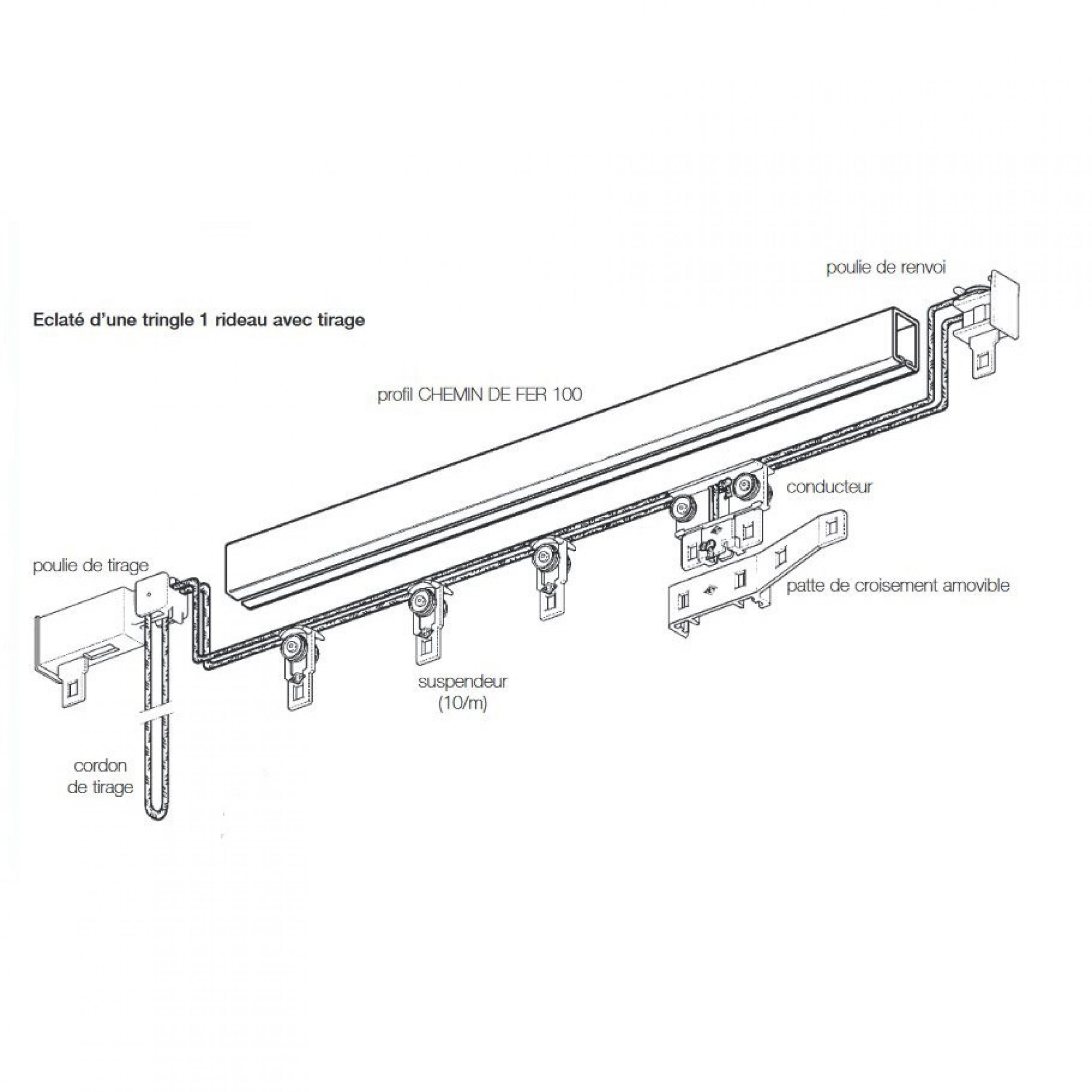 Rail chemin de fer boulet ber 24 x 16 avec tirage ficelle l 39 atelier de la toile - Rail chemin de fer rideau ...