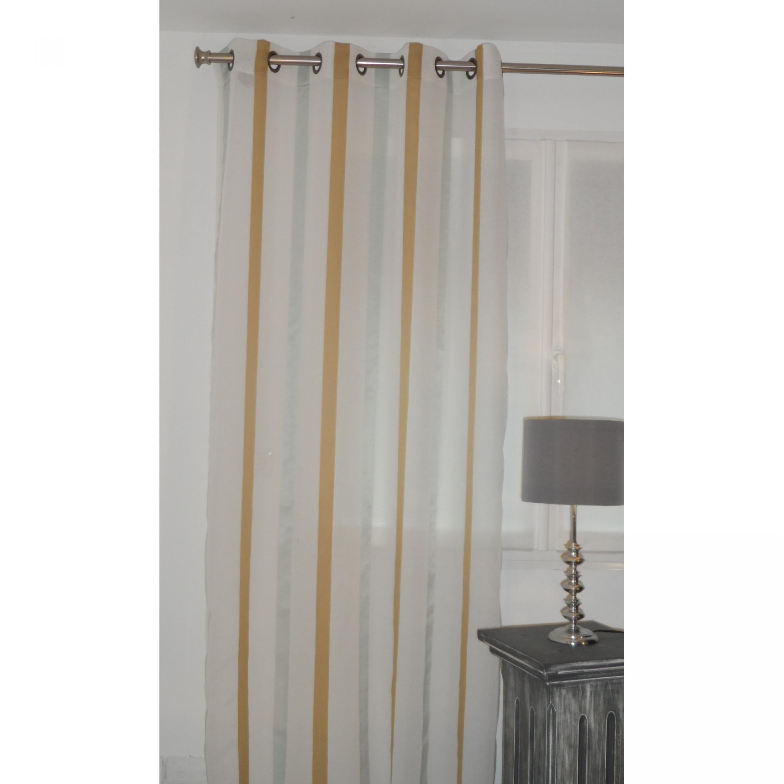 voilage pr t poser lino moutarde 135 x 270 cm l. Black Bedroom Furniture Sets. Home Design Ideas