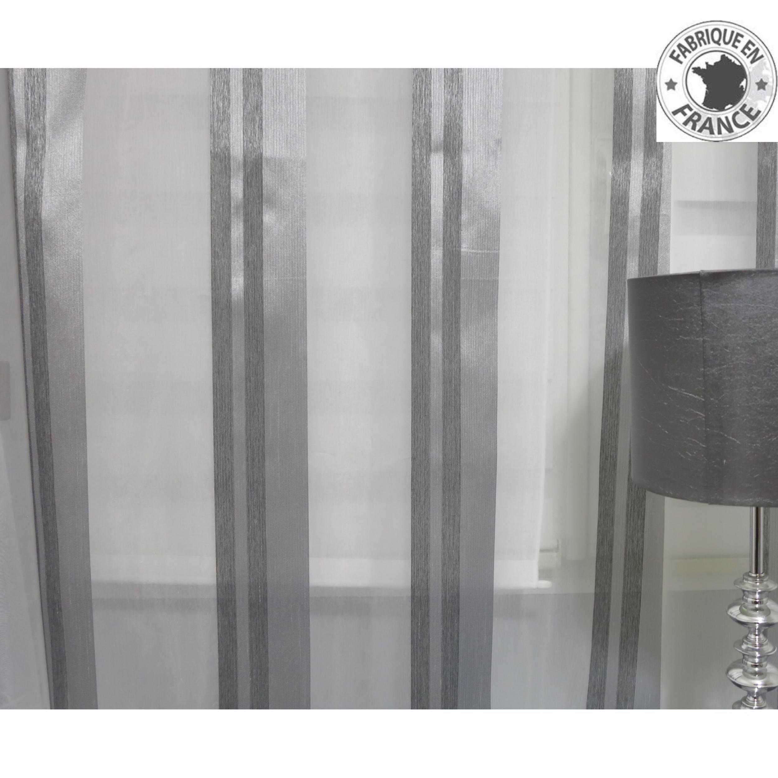 voile au m tre gris avec rayure en grande hauteur 300 cm. Black Bedroom Furniture Sets. Home Design Ideas