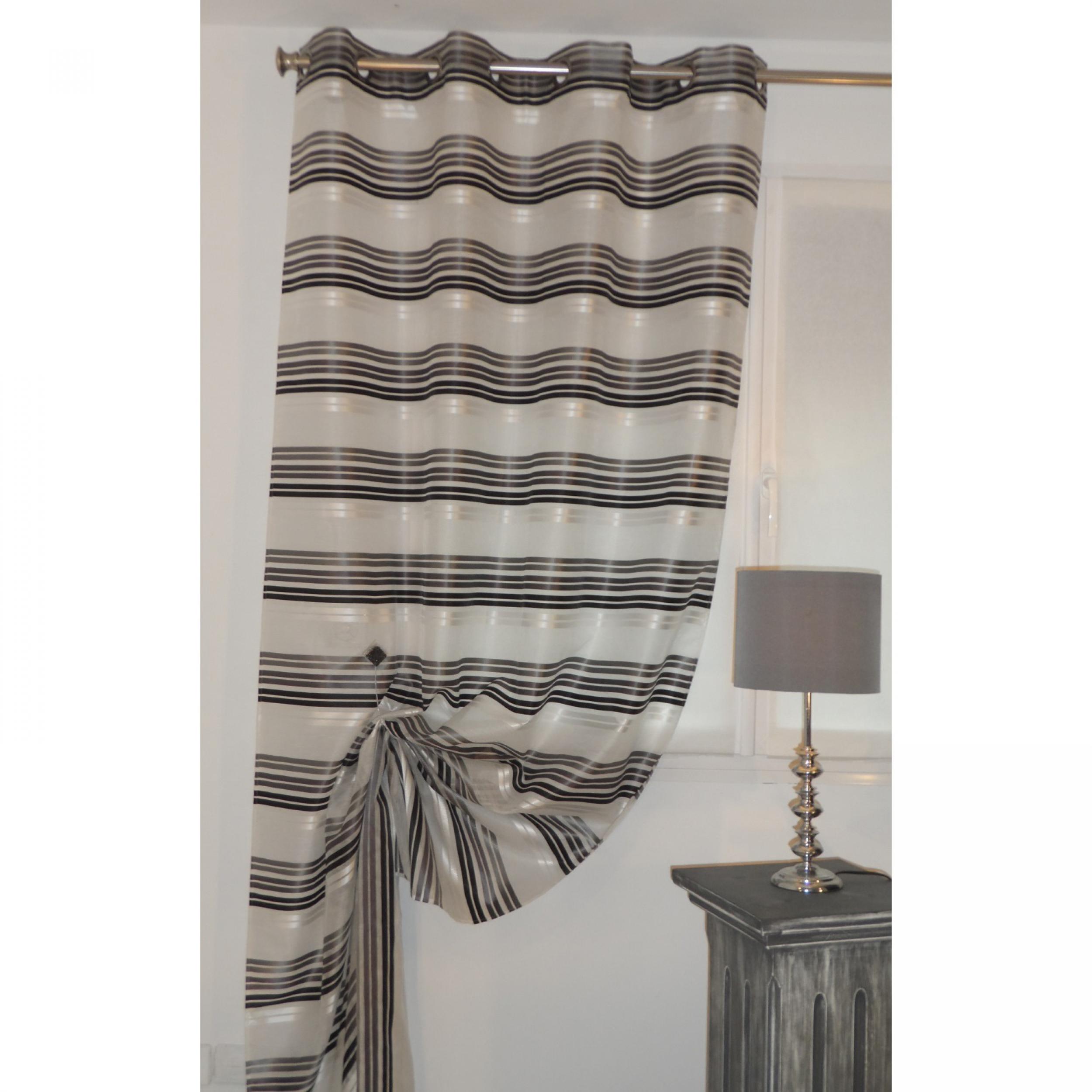 voilage pr t poser isa gris 135 x 270 cm l 39 atelier de. Black Bedroom Furniture Sets. Home Design Ideas