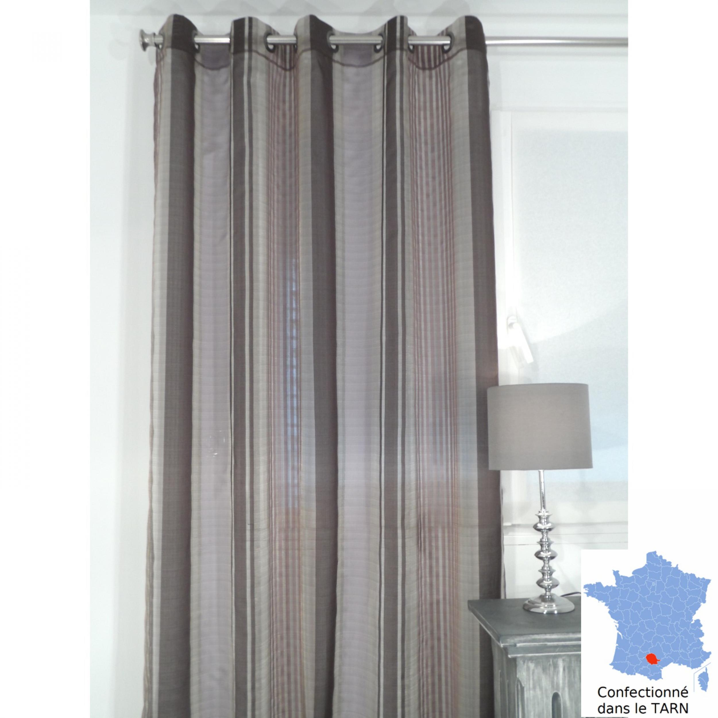 voilage pr t poser enzo aubergine 170 x 245 cm l 39 atelier de la toile. Black Bedroom Furniture Sets. Home Design Ideas