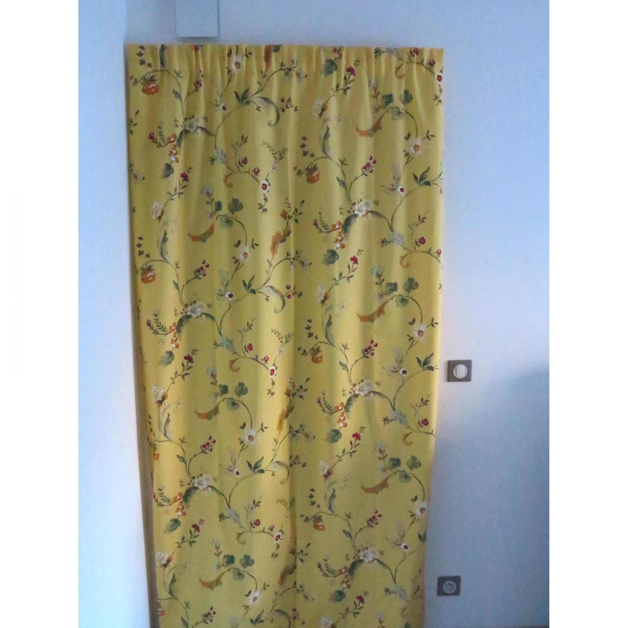 rideaux ruflette fleurance jaune pour tringle porti re 134 x 255 cm l 39 atelier de la toile. Black Bedroom Furniture Sets. Home Design Ideas