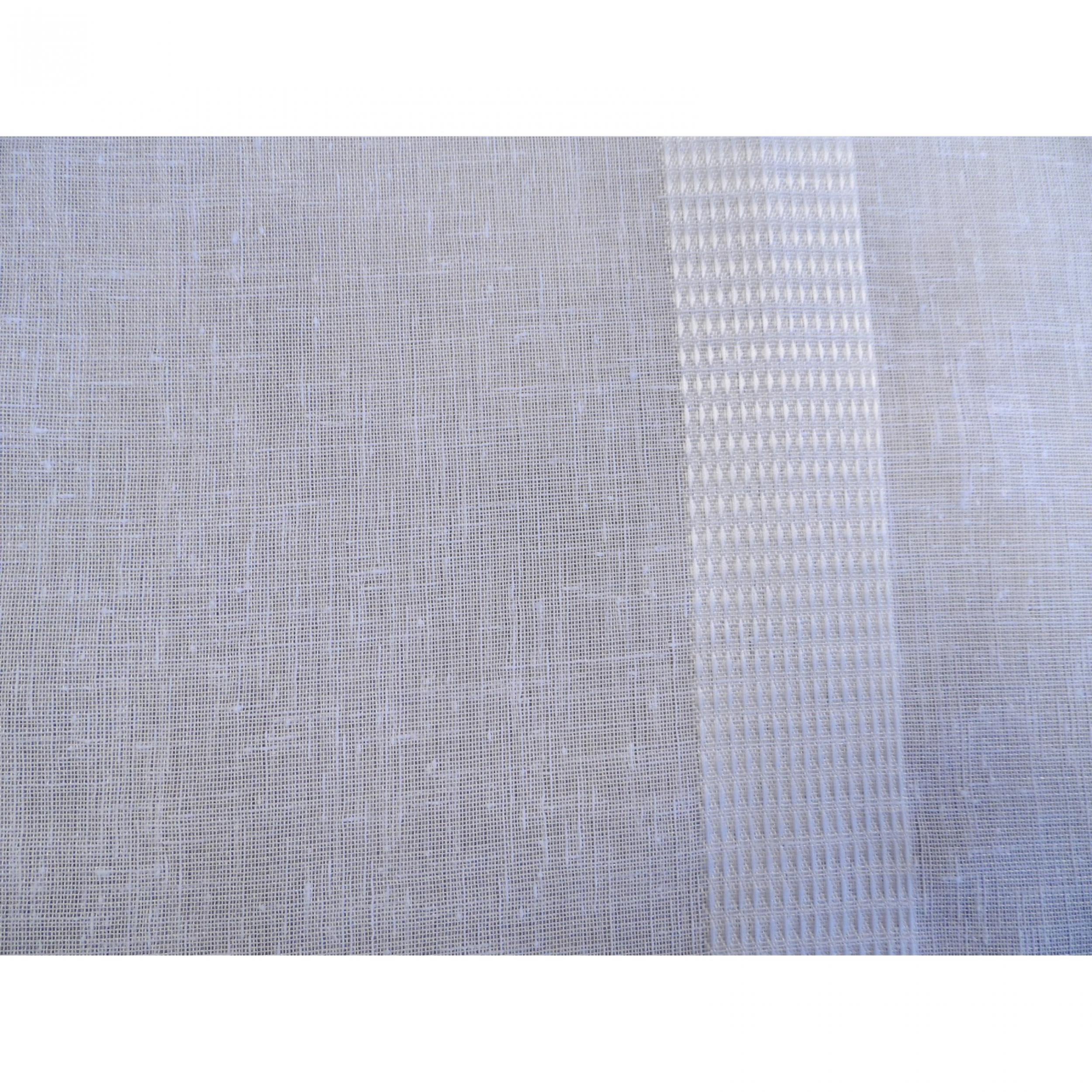 Voile au m tre blanc avec rayure ton sur ton en grande hauteur 300 cm l 39 atelier de la toile - Rideaux grande hauteur 300 ...