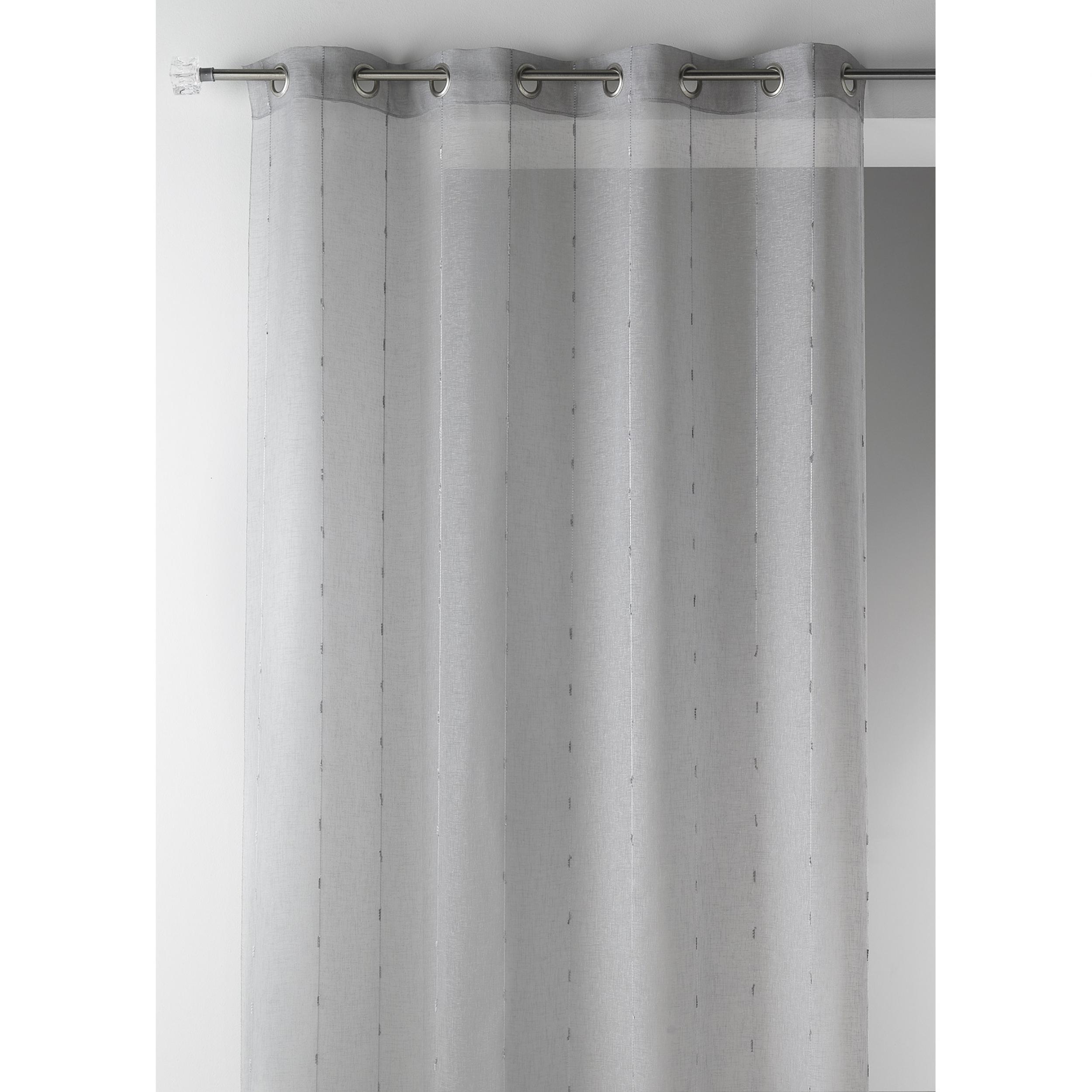 Voilage prêt à poser grande largeur MERIBEL gris - L\'atelier de la toile
