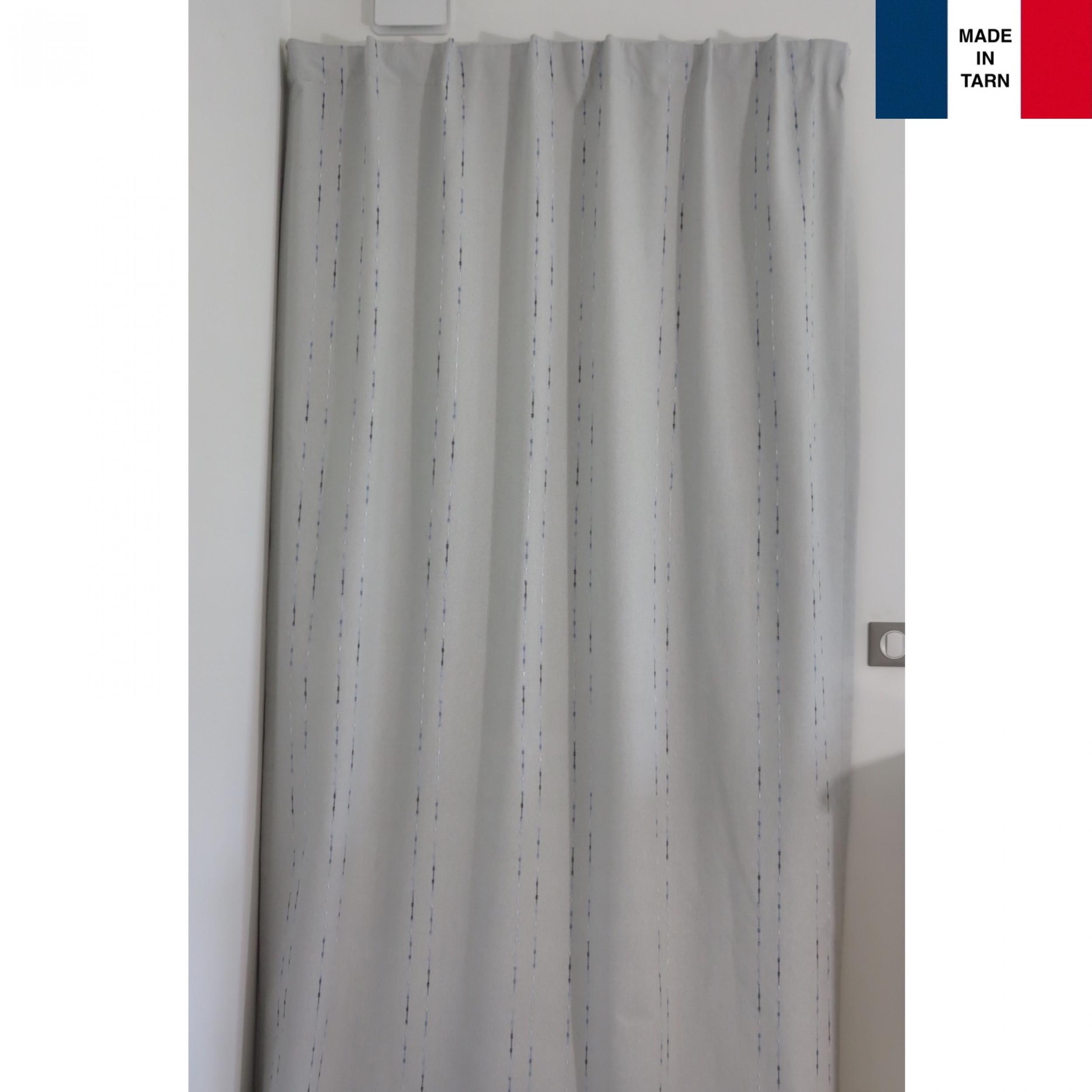 rideaux ruflette isolant thermique notus couleur gris et bleu pour tringle porti re 138 x 235 cm. Black Bedroom Furniture Sets. Home Design Ideas